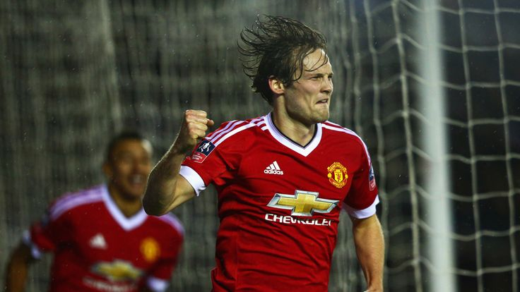 Daley Blind of Manchester United celebrates as he scores their second goal