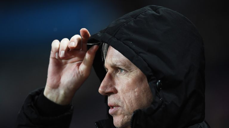Alan Pardew looks on during the Barclays Premier League match between Aston Villa and Crystal Palace