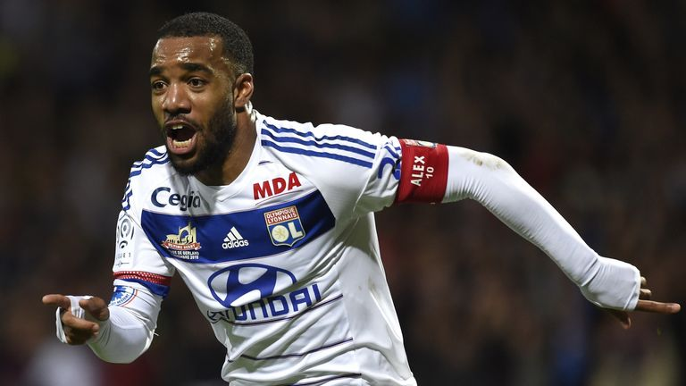 Lyon's forward Alexandre Lacazette celebrates