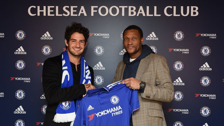 Pato poses with Chelsea technical director Michael Emenalo at the Cobham Training Ground