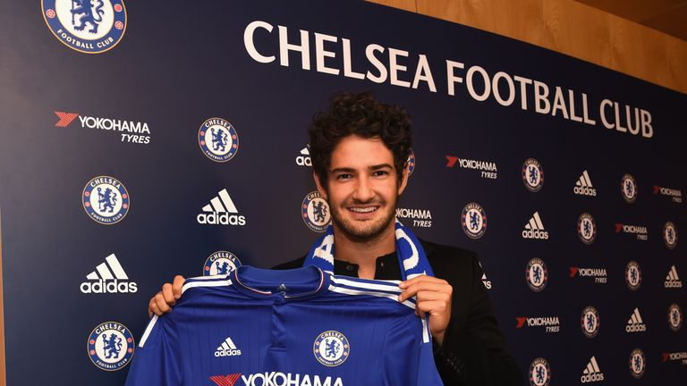 Alexandre Pato poses with Chelsea shirt, Cobham