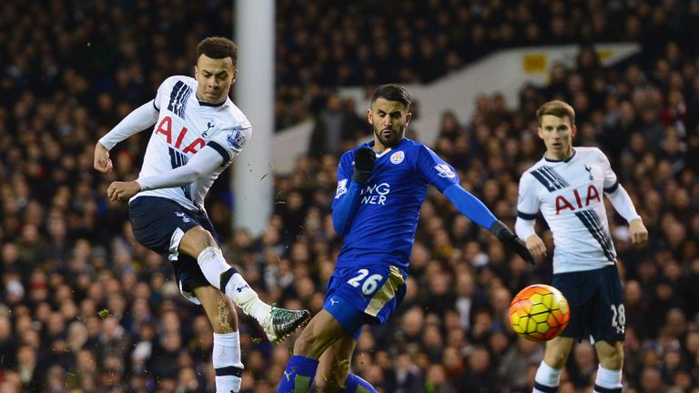 Dele Alli shoots at goal during his side's 1-0 defeat to Leicester