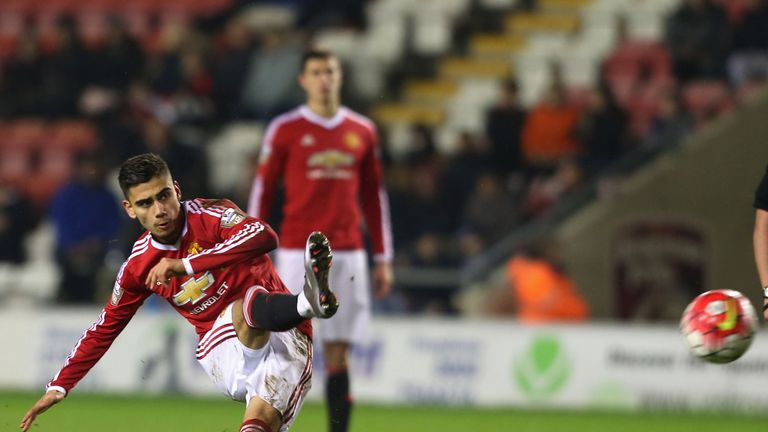 Andreas Pereira in action for Manchester United U21s