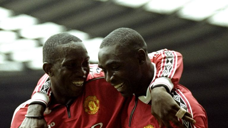 Dwight Yorke (L) struck up a hugely successful partnership with Cole