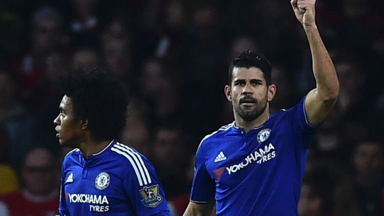 Diego Costa celebrates after scoring against Arsenal