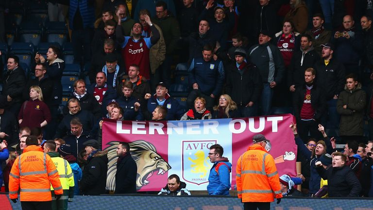Villa fans have expressed their dissatisfaction with owner Randy Lerner throughout the season