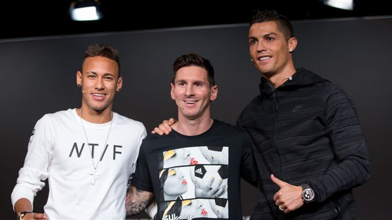 FIFA Ballon d'Or nominees Neymar Jr of Brazil and FC Barcelona (L), Lionel Messi of Argentina and FC Barcelona (C) and Cristiano Ronaldo