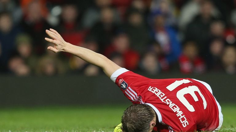 Bastian Schweinsteiger was injured during the FA Cup match between Manchester United and Sheffield United