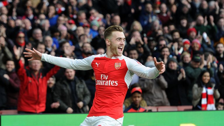 Arsenal's Calum Chambers celebrates scoring the opening goal during the match against Burnley in the FA Cup fourth round match