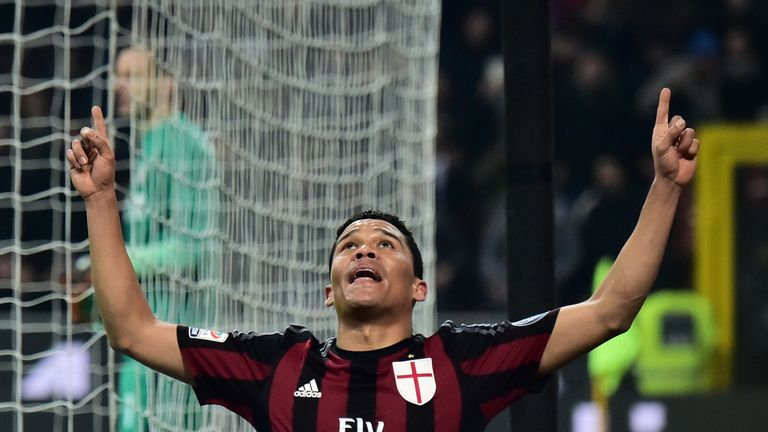AC Milan forward  Carlos Bacca celebrates after scoring