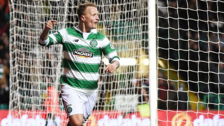 Leigh Griffiths celebrates his winning goal for Celtic against Partick