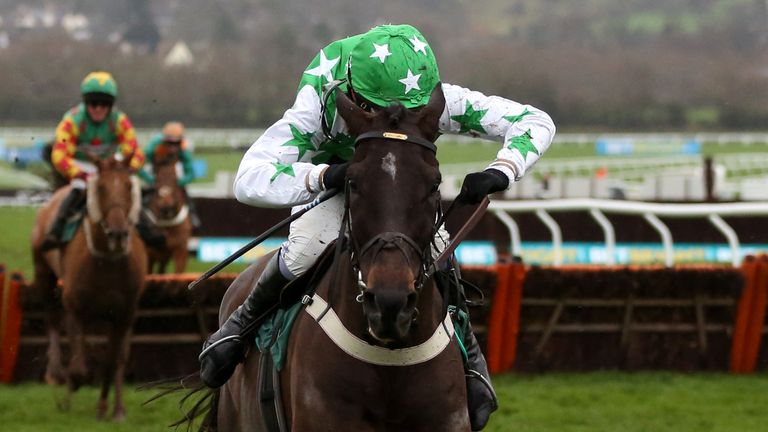 Camping Ground, ridden by Leighton Aspell, races clear to win the Dornan Engineering Relkeel Hurdle at Cheltenham