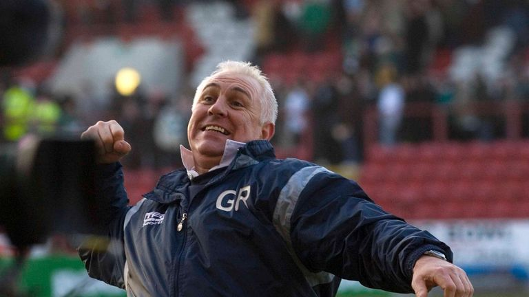Clyde manager Graham Roberts celebrates win against Celtic