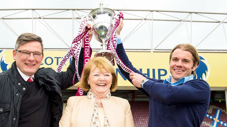Craig Levein, Ann Budge and Robbie Neilson of Hearts with the Championship trophy