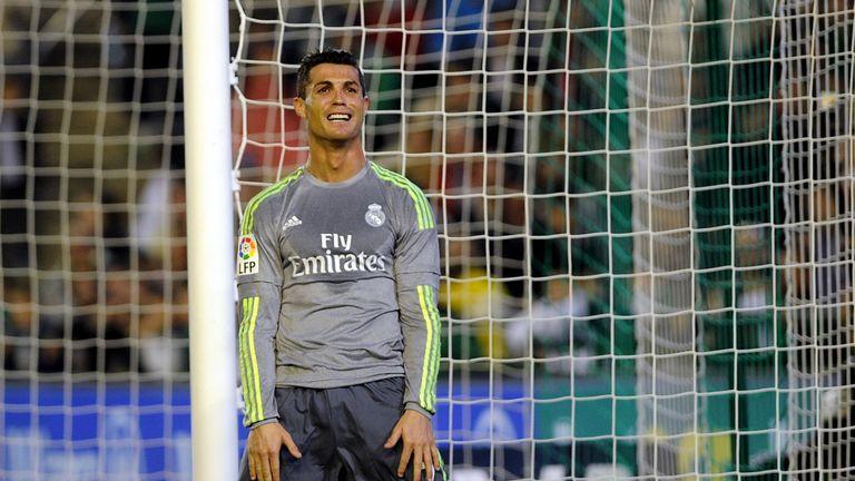 Real Madrid's Cristiano Ronaldo looks skywards