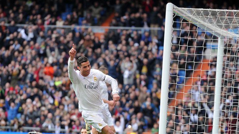 Cristiano Ronaldo goal celeb, Real Madrid v Sporting Gijon, La Liga