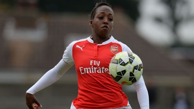Danielle Carter of Arsenal Ladies during the match with Watford Ladies in Continental Park