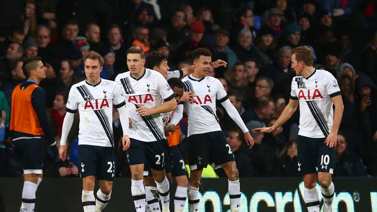 Dele Alli (second right) celebrates his goal against Palace