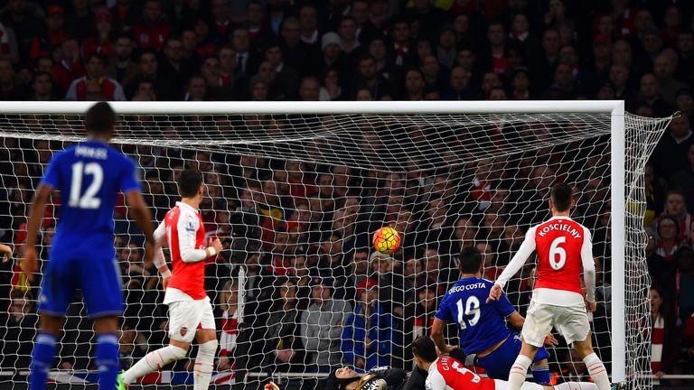 Diego Costa of Chelsea scores