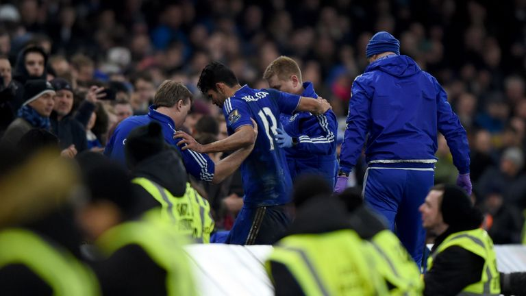 Chelsea's Diego Costa is substituted off after incurring an injury