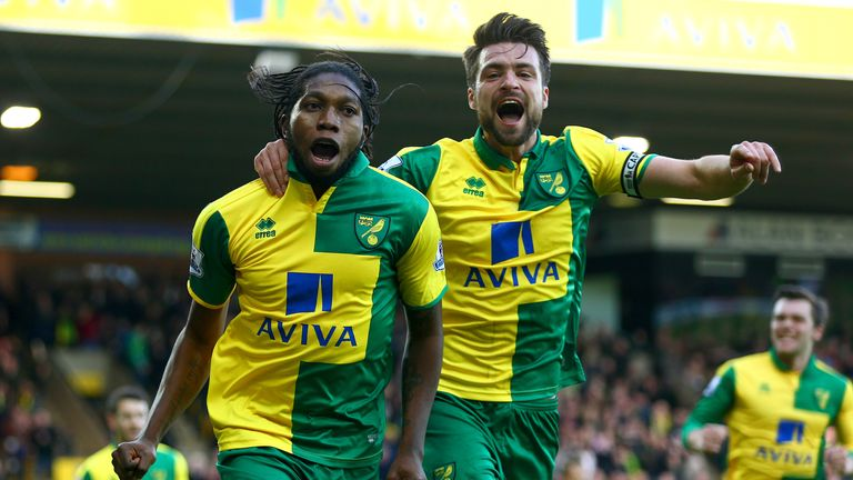 Dieumerci Mbokani (left) celebrates after scoring the equaliser for Norwich City against Liverpool