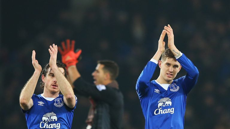 Leighton Baines and John Stones of Everton celebrate after the Capital One Cup Semi Final First Leg match between Everton
