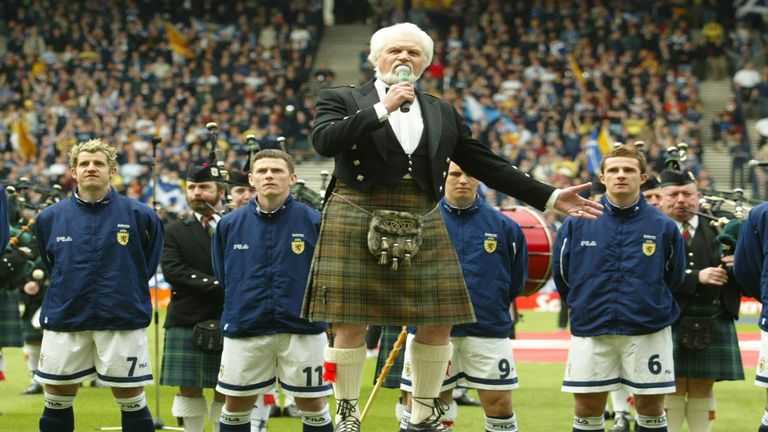 Scotland players sing national anthem ahead of international at Hampden Park