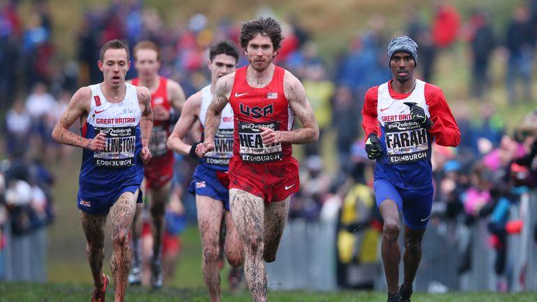 Garrett Heath of USA (centre) leads Farah to win  in Holyrood Park