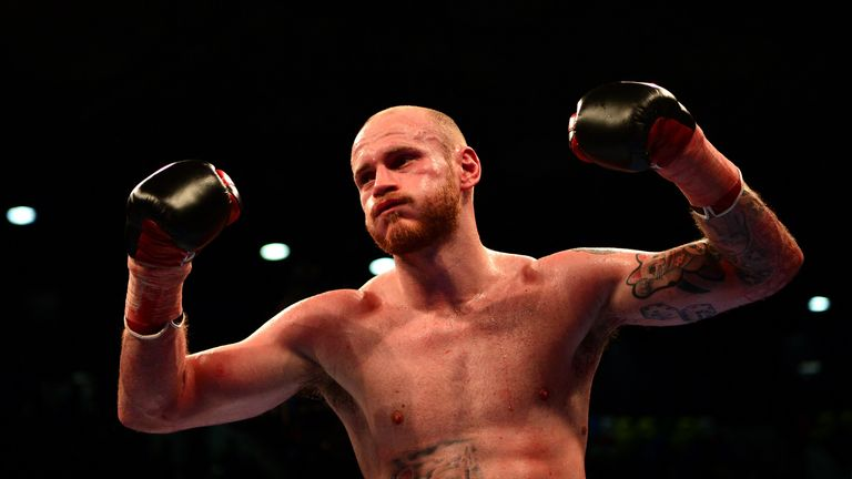Groves celebrates his emphatic win at the Copper Box Arena