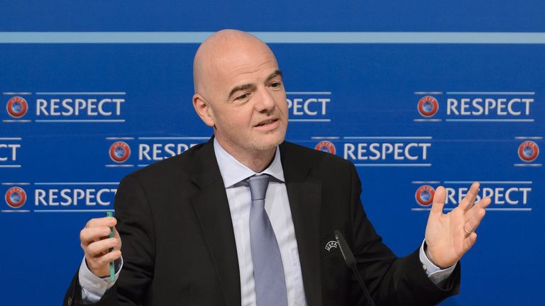 UEFA General Secretary Gianni Infantino gives a press conference following a UEFA Executive meeting on October 15, 2015