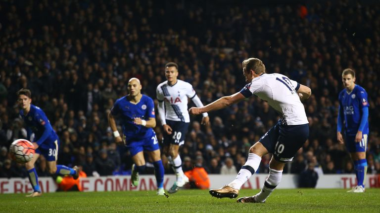 Harry Kane's late penalty earned Tottenham a replay with Leicester