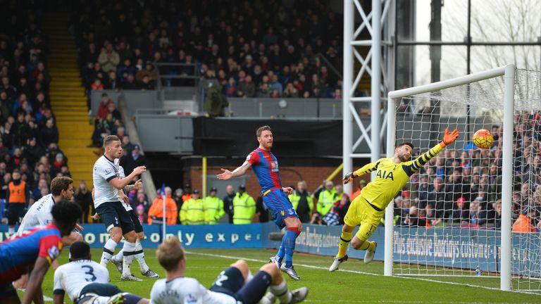 Tottenham's Hugo Lloris (R) fails to stop Jan Vertonghen's (left) own goal