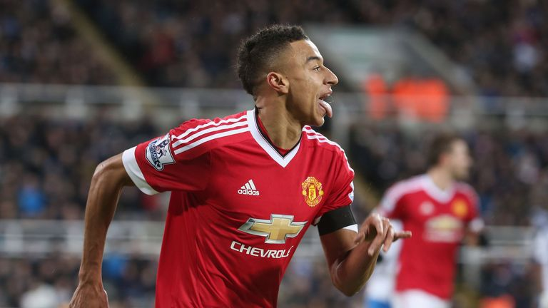 Manchester United's Jesse Lingard celebrates scoring their second goal during the Barclays Premier League match against Newcastle United