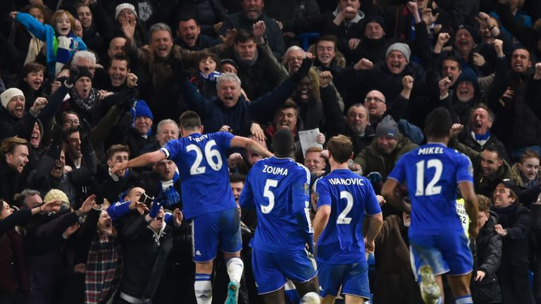 John Terry celebrates his Chelsea equaliser deep into injury-time
