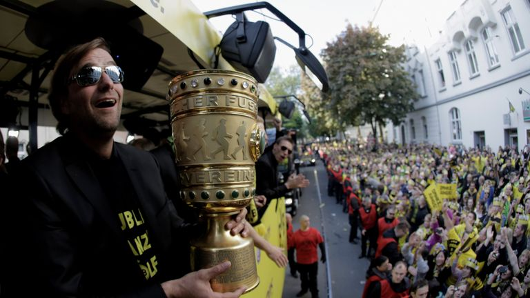 Borussia Dortmund coach Jurgen Klopp with the DFB Pokal Cup in 2012