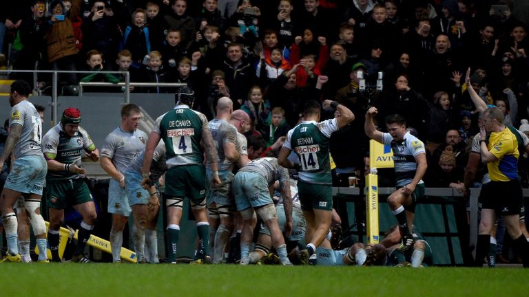 Lachlan McCaffrey goes over for Tigers' second try against Northampton