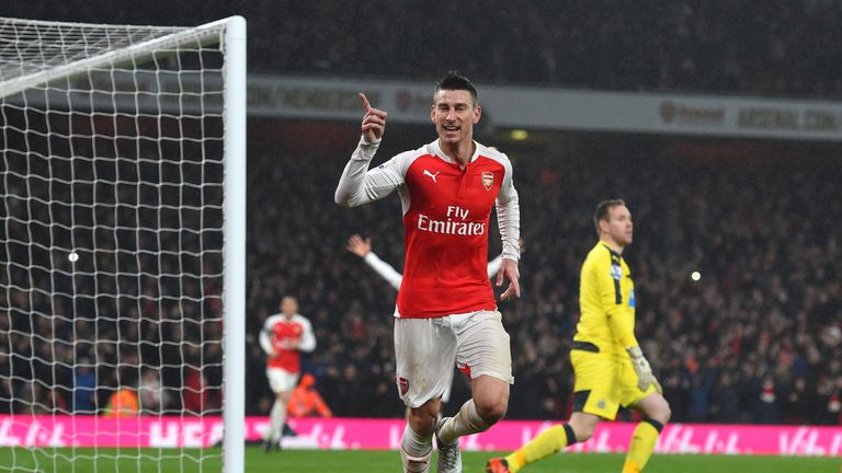Laurent Koscielny celebrates scoring Arsenal's first goal during the match against Newcastle United