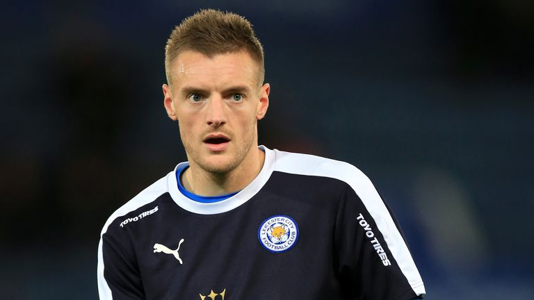 Leicester City's Jamie Vardy warms up prior to the Barclays Premier League match at The King Power Stadium, Leicester.