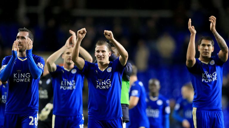 Leicester celebrate the 1-0 victory at Tottenham