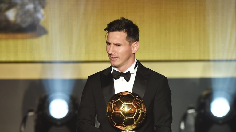 Lionel Messi of Argentina and Barcelona receives the Ballon d'Or award during the FIFA Ballon d'Or Gala 2015 at the Kongresshaus, Zurich