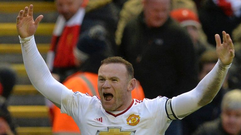 Wayne Rooney celebrates after scoring for Manchester United against Liverpool