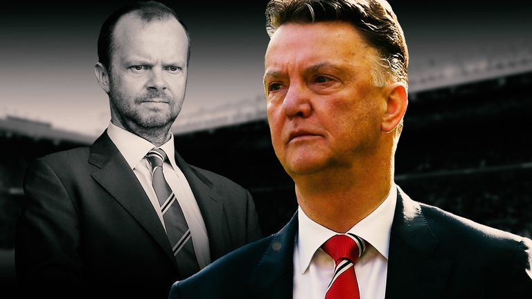 Louis van Gaal (right) has had to field questions over his Manchester United future