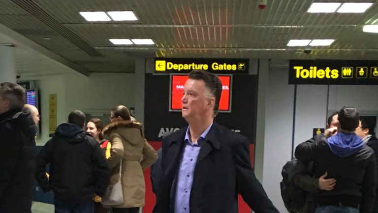 Manchester United manager Louis van Gaal has photographed at Manchester airport on Sunday afternoon