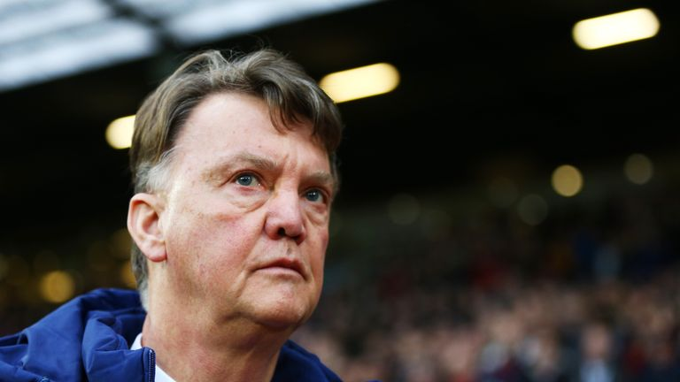 Louis van Gaal looks on prior to the Barclays Premier League match between Manchester United and Swansea