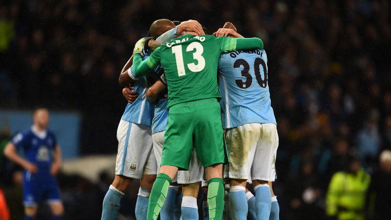 Manchester City celebrate beating Everton to reach Wembley