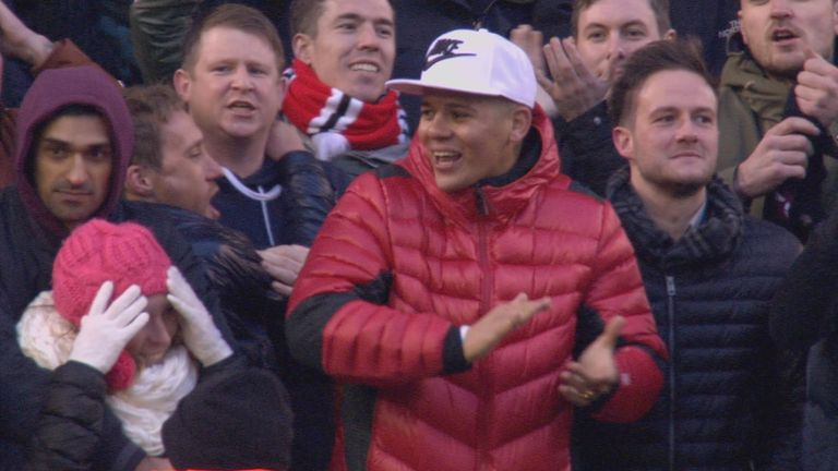 Manchester United defender Marcos Rojo was in the crowd at Anfield watching the game against Liverpool