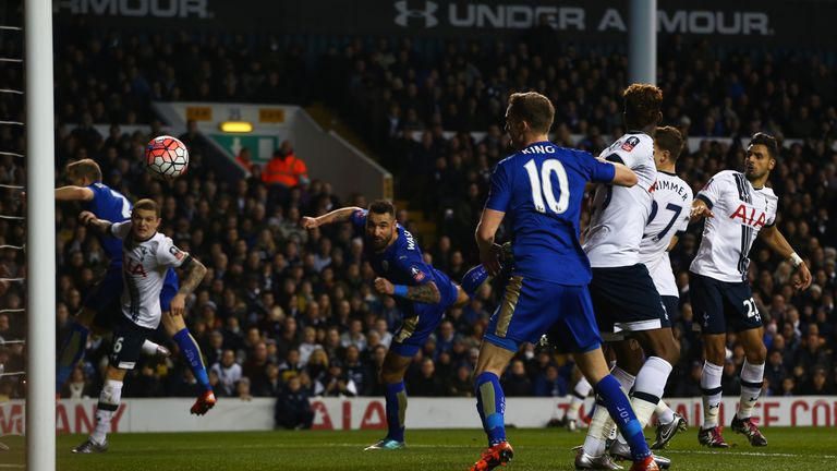 LONDON, ENGLAND - JANUARY 10:  Marcin Wasilewski of Leicester City scores with a header