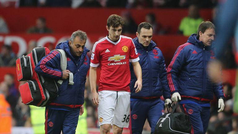Matteo Darmian walks off after suffering an injury against Southampton