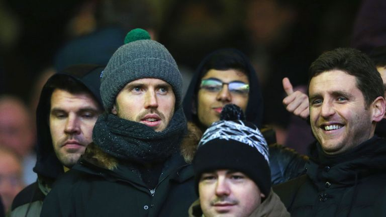Carrick joined the United fans for Sunday's big match at Anfield