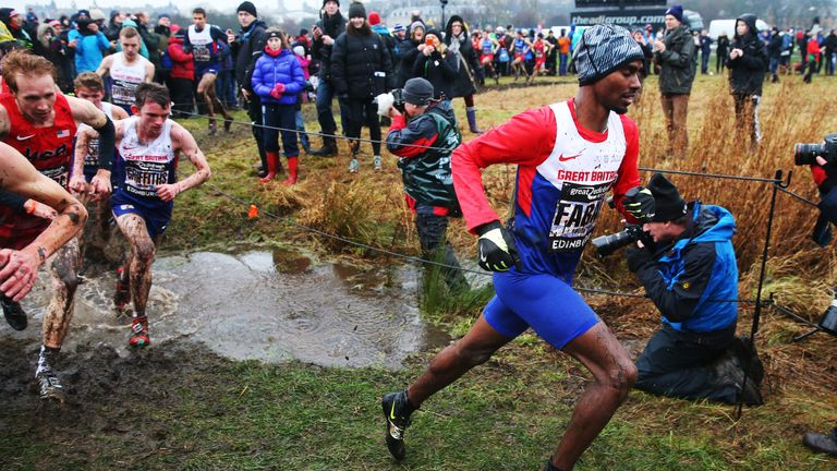 Mo Farah came home second in the Great Edinburgh Cross Country